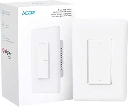 Умный встраиваемый выключатель Wi-Fi Aqara Wall Switch (No Neutral, Double Rocker) QBKG03LM